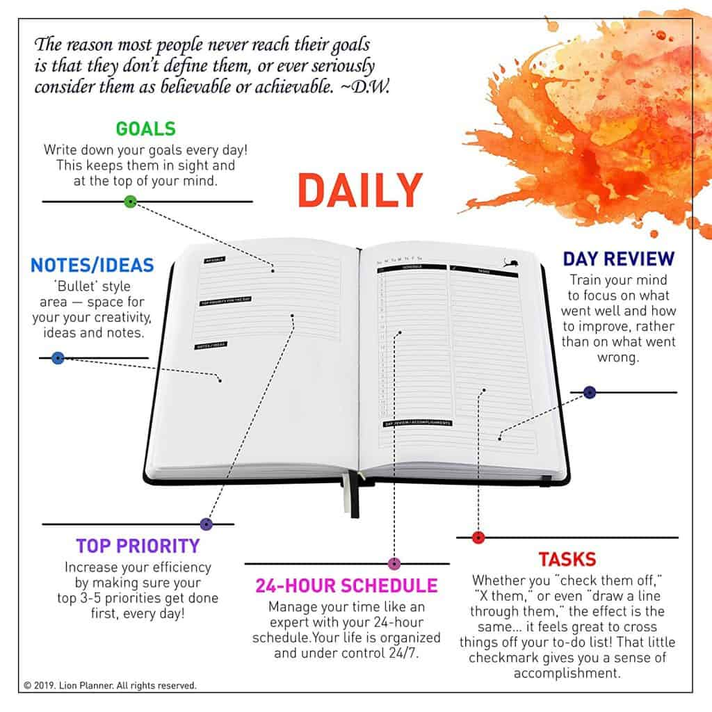 Lion Daily Planner with pictures of planner