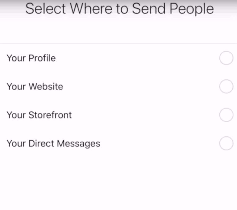 """""""select where to send people"""" for Instagram Ads"""