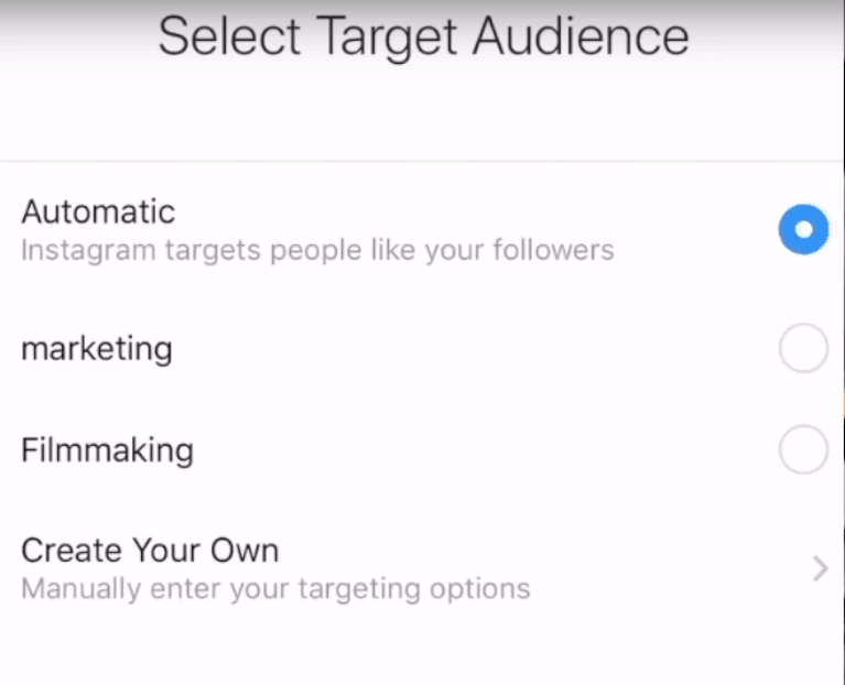 """""""select target audience for instagram ads"""""""