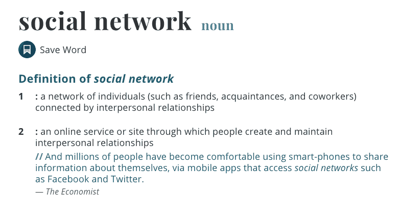 Text: a network of individuals connected by interpersonal relations