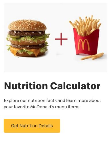 Mcdonald's nutrition calculator
