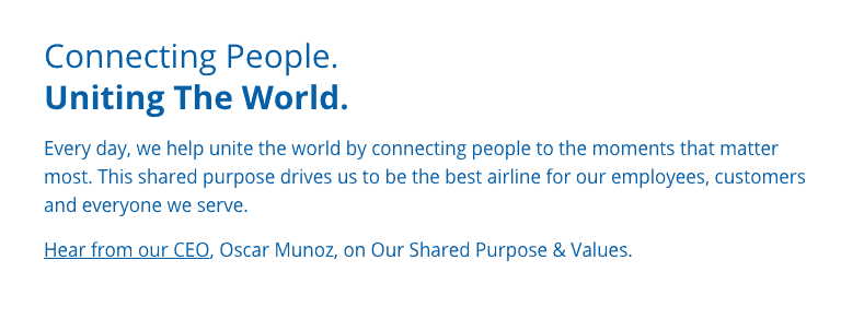 "United airlines, ""connecting people, uniting the world"""