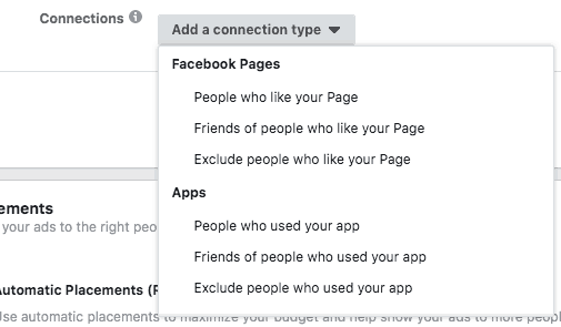 Facebook Pages add a connection type